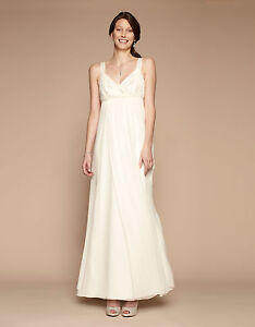 BNWT Monsoon Wyatt Embellished Ivory Silk Bridal Wedding Maxi Dress Size 8 NEW