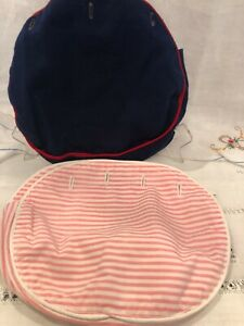 Vintage Bermuda Bag Purse Covers, Pink Seersucker, Navy with red piping, 10x8x2