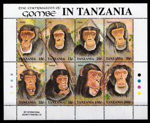 Tanzania 1992 MNH SS, Monkeys, Chimpanzees, Wild Animals