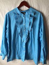 Bob Mackie 2X Blouse Blue Long Sleeve Button Down Ruffled Collar Wrists