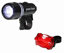 New Waterproof Bike Red Rear Back + White Front Head Lights Flashlight LED #105