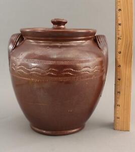 19thC Antique Primitive Brown Stoneware Covered Jar, Incised Band, Lug Handles