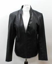 ADOLFO DOMINGUEZ Ladies Black Leather Long Sleeve Biker Jacket Size EU42 UK12