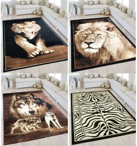 NEW LARGE ANIMAL PRINT TIGER LION WOLF BROWN BLACK MODERN AREA FLOOR RUG MAT