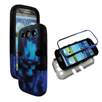 Hybrid Tuff Blue Skull  for Samsung Galaxy S3 III I9300 Case Cover  f