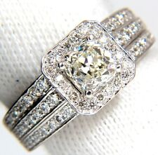 GIA 2.22ct NATURAL CUSHION CUT DIAMONDS RING 14KT K/Si RAISED SQUARE +