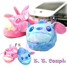 Stitch & Angel Slipper Plush couple cellphone keychain