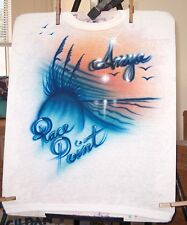 """Airbrushed T-shirt """"KATIE"""" BEACH SCENE all sizes to 6X"""