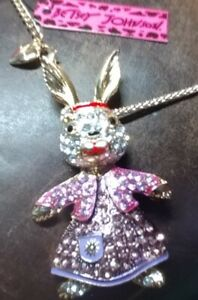 Big Purple Crystal Wizard Gold-plated Bunny Rabbit Necklace 28 in Chain