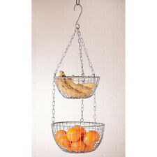 Hanging Produce Wire Basket in weathered Zinc finish - 2 Tier