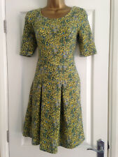 BNWT NEXT Ladies Yellow Blue Green Floral Short Sleeved Textured Skater Dress 8