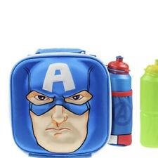 3D Children Insulated Lunch Box Bag and Sport Water Bottle Kids Set School