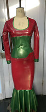 Latex Two Piece Plum &Green Skirt & Top Size Small