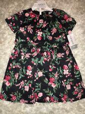 Carter's Baby Girls Floral Black Pink Print Cotton Dress 12M 12 months NWT