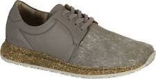 $195 Birkenstock Wrigley Natural Leather / Fur Grey Lace Shoes Grey ( 42 )