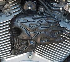 Flaming Skull Horn Cover in Satin Black Finish. Harley Davidson. FSBS-2