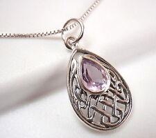 Small Celtic Purple Amethyst Pendant 925 Sterling Silver Corona Sun Jewelry