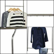 Adjustable Closet Hanging Rod Chrome Hanger Bar Clothing Rack Extender Organizer
