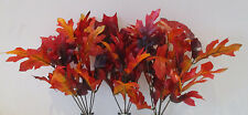 Pack of 3 Artificial Oak Leaf Spray - Red Fake Leaves - 30cm - Autumn Sprays