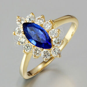 0.75ct Natural Round Diamond 14k Solid Yellow Gold Sapphire Cluster Ring Size 7