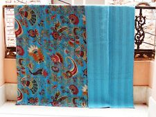 Antique Indian Cotton BedSpread Handmade Kantha Quilt Blanket King Size Blue 03