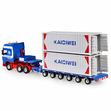 New 1/64 Scale Diecast Low Bed Transporter Truck Vehicle Car With 2 Containers