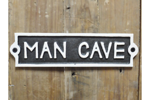 Cast Iron 'Man Cave' Plaque Sign   Shed Garage Study Garden Door Father Dad