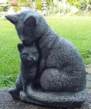 Katze nmama mit Baby ca. 7200 gr. schwer Figur massiver Steinguss