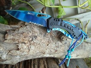 Collectible Pocket Knife, Black and Blue Titanium, Spring A Knife,Can Opener 705