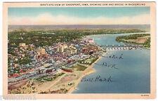AK US USA Post Card Bird`s eye view Davenport Dam an Bridge gelaufen 1939