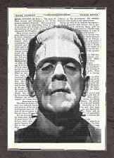 ART PRINT ON OLD ANTIQUE BOOK PAGE FRANKENSTEIN Vintage Halloween Upcycled