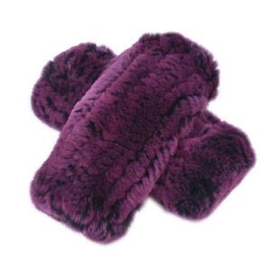 Fur Glove Winter Real Rex Rabbit Fur Mitten Double Side Tight Woven High Elastic