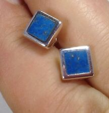 Turquoise square Stud Earrings Solid Sterling Silver, Actual Ones. UK.