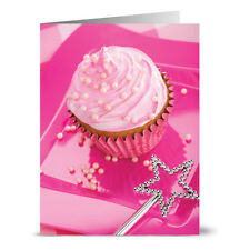 24 Birthday Note Cards - Pink Pearl Cupcake - Hot Pink Envs