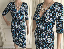 NEW EX GEORGE BLUE WHITE BLACK FLORAL PRINT CROSSOVER BELTED DRESS 8 -18