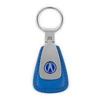 Acura Blue Leather Teardrop Key Chain Fob – Blue Acura Logo