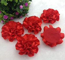 5pcs Red satin ribbon big Peony Flower Appliques/Wedding/decoration