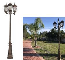 "3-Light 96"" Lamp Post Light Large Outdoor Lighting Pole Fixture Street Lantern"