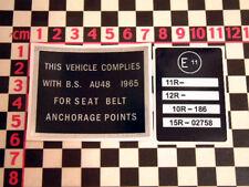 Reliant Robin E11 & Seatbelt Compliance Stickers