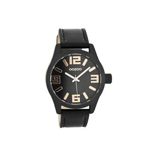 NEW Oozoo Black & Rose Gold Watch Vintage Collection Quartz Nickel Free Leather