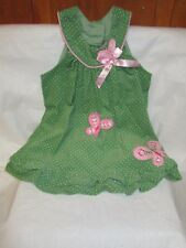 Green w/ White Dots Corduroy Sleeveless Jumper Rare Editions Girl's Size 24 Mos