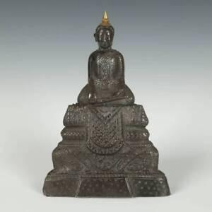 ANTIQUE SEATED BUDDHA CLAY SILVER GOLD BURMA LAOS THAILAND BUDDHISM 19TH C.