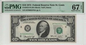 1974 $10 FEDERAL RESERVE NOTE ST.LOUIS FR.2022-H TOP POP PMG GEM UNC 67 EPQ(370A