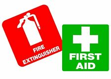 First Aid & Fire Extinguisher Diecut vinyl stickers decal  100x100mm OHS