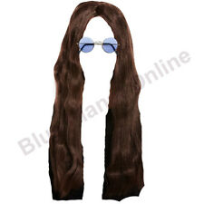 Mens Long Brown Hippy Hippie Wig Round Glasses Jesus Fancy Dress 1960s Costume