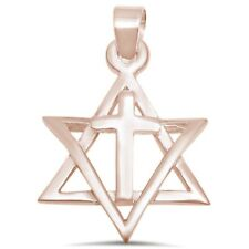 Rose Gold Plated Star Of David with Cross .925 Sterling Silver Pendant