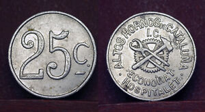 "SPAIN _ CATALONIA - TOKEN ""ECONOMAT HOSPITALET""  25 Centimos, about 1937"