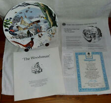 Wedgwood Christmas Plate 3rd Issue 'THE WOODSMAN'  VanHygan&Smythe Easel Stand