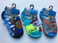 3 Pairs Socks Assorted Paw Patrol Boy Socks Size 4-6 Shoe Size 7-10 NEW