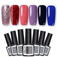 6 Bottles LEMOOC Glitter Red Rose Gold UV Gellack Nail UV LED Gel Varnish 8ml